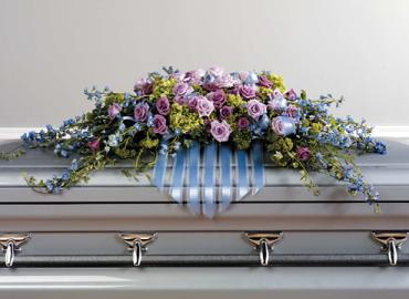 Lavander and blue casket spray